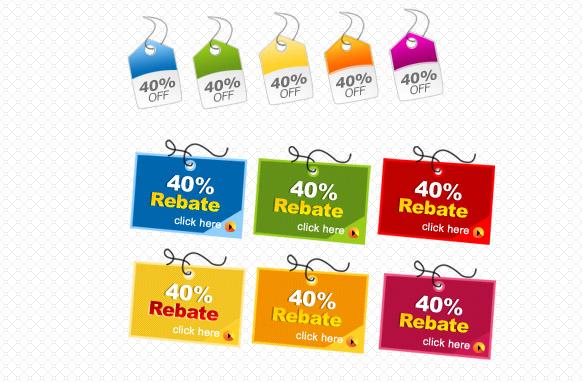 40 Precent Rebate Tags PSD