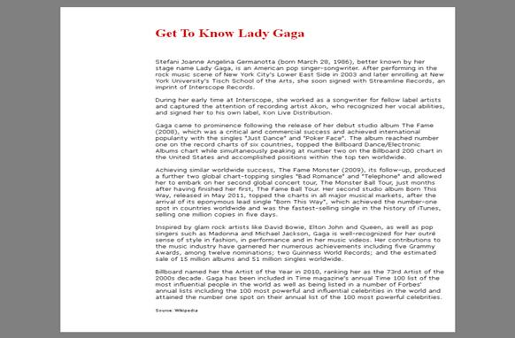 Lady Gaga Site WP Website