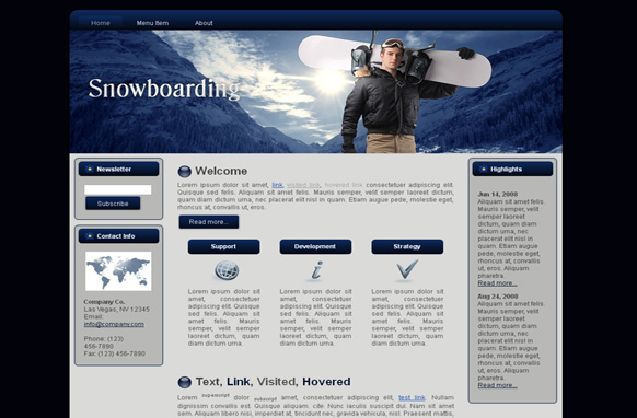 Snowboarding HTML Template