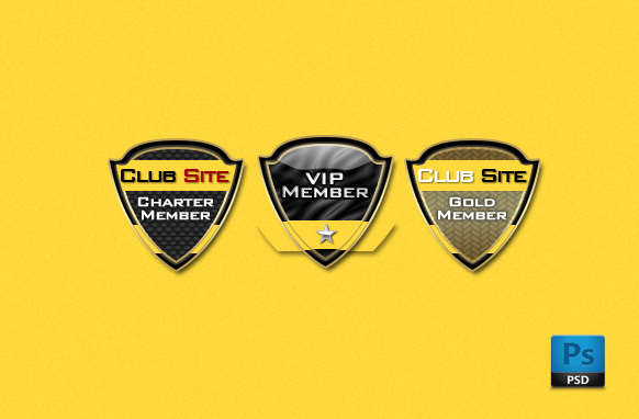 3 Set PSD and PNG Club Badges
