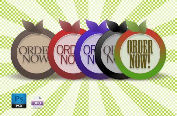 5 Halo Style Order Badges PSD JPG