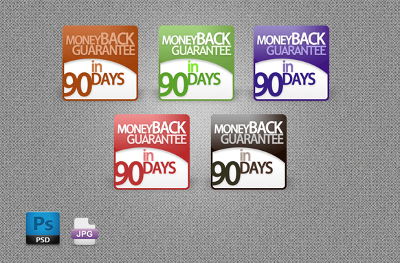 5 Modern Style 90 Days Guarantee Badges PSD JPG