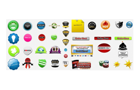 27 PSD PNG Badges with PLR