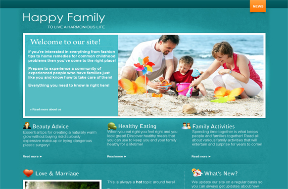 Family HTML PSD Template Edition 2