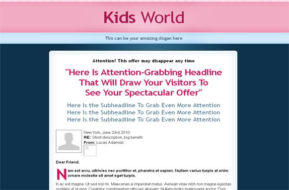 Kids World HTML PSD Salespage Template