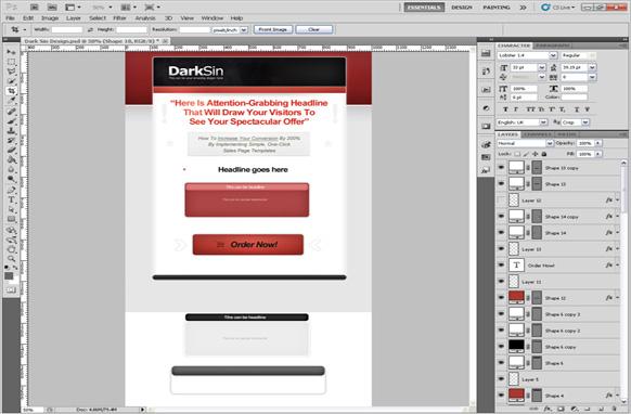 Dark Sin PSD Salespage Template