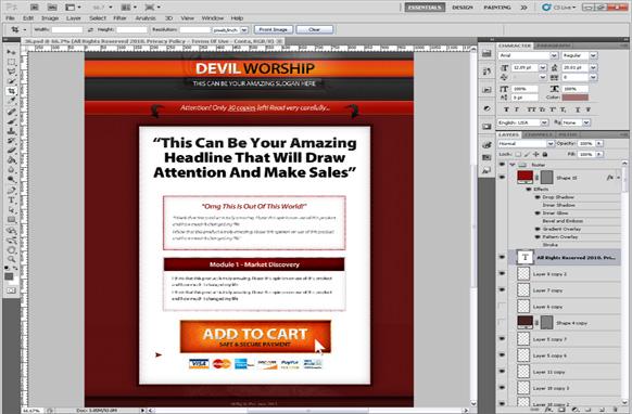 Devil Worship PSD Salespage Template