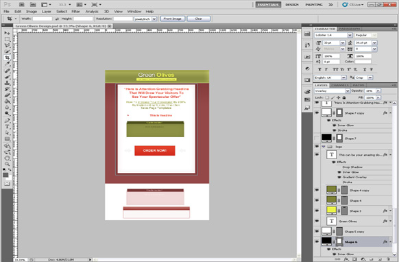 Green Olives PSD Salespage Template