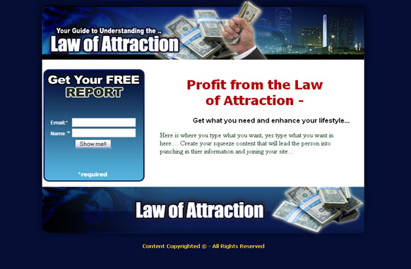 Law Of Attraction HTML Squeeze Page
