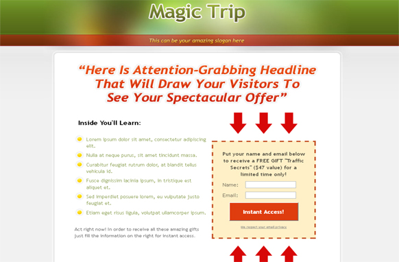 Magic Trip HTML Squeeze Page