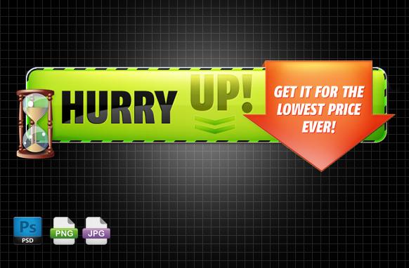 Hurry Up PSD PNG JPG Header Edition 1