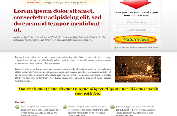 Squeeze Page Template v2