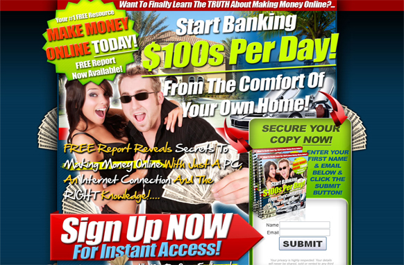 Start Banking $100 a Day HTML PSD Squeezepage Template
