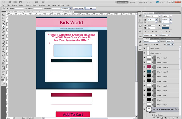 Kids World PSD Sales Page Template