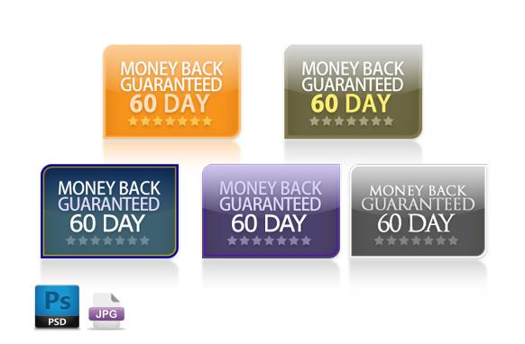 Modern Retro PSD Guarantee Buttons