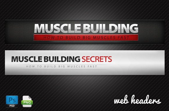 Muscle Building Web Headers in PSD Format