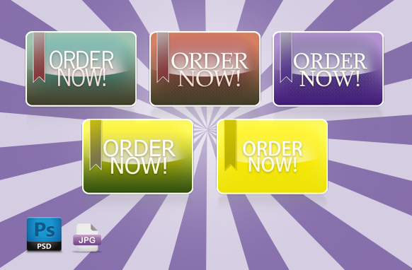 Retro Ribbon Order PSD Buttons