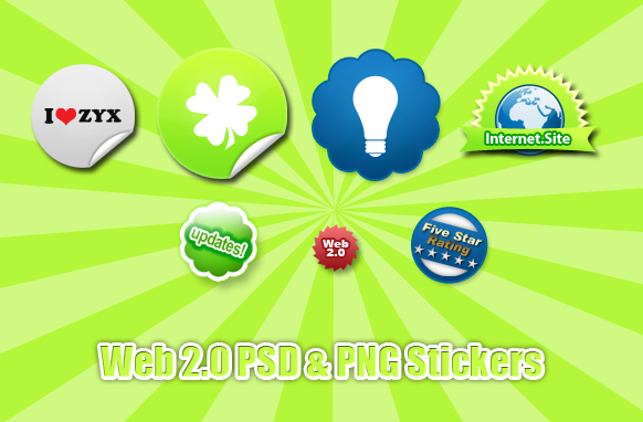 Web 2.0 PSD and PNG Stickers