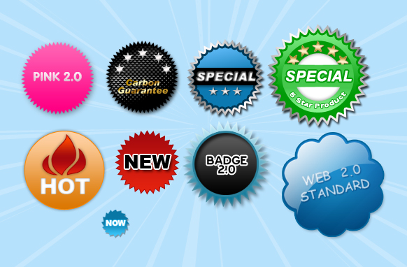 Web 2.0 Standard PSD and PNG Badges