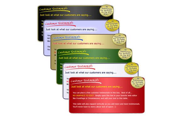 HTML and JPG Testimonial Boxes