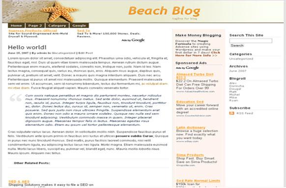 Super Adsense Wordpress Theme Beach