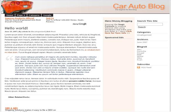 Super Adsense Wordpress Theme Car