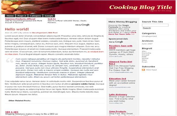 Super Adsense Wordpress Theme Cooking