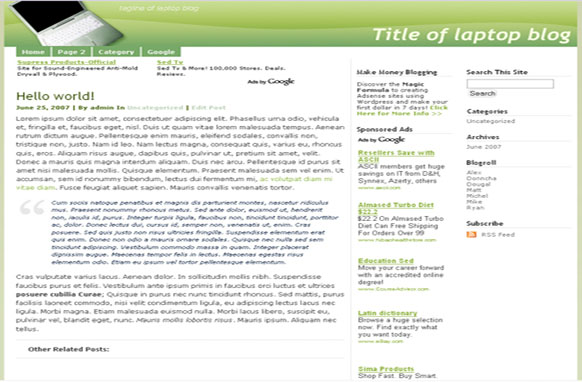 Super Adsense Wordpress Theme Laptop
