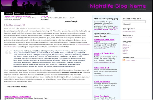 Super Adsense Wordpress Theme Nightlife
