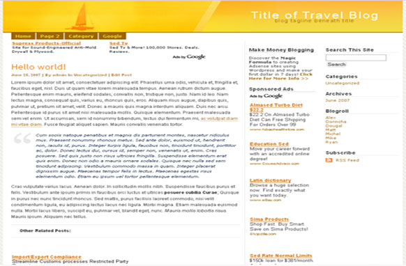 Super Adsense Wordpress Theme Travel