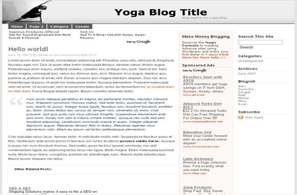 Super Adsense Wordpress Theme Yoga