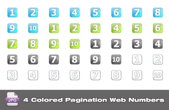 4 Colored Pagination Web Numbers