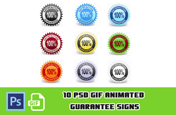 10 PSD GIF Animated Guarantee Signs
