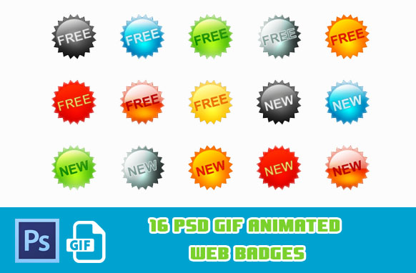 16 PSD GIF Animated Web Badges