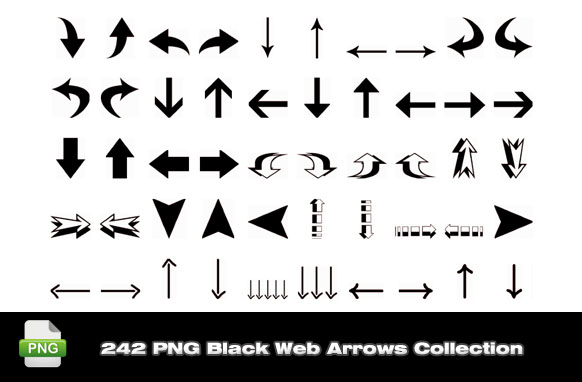 242 PNG Black Web Arrows Collection