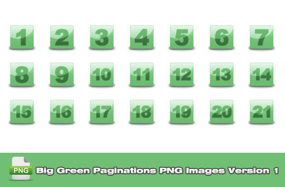 Big Green Paginations PNG Images Version 1