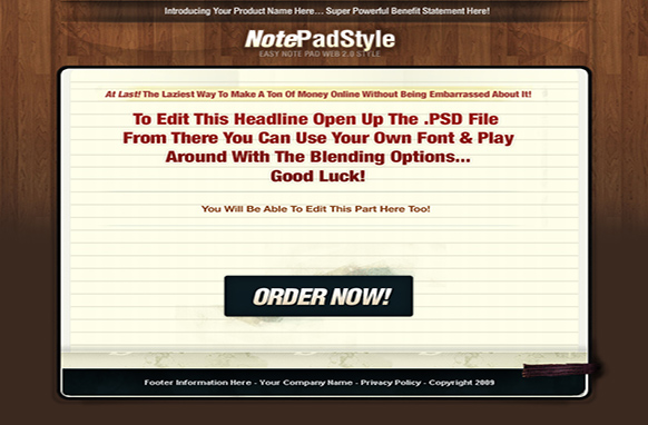 Note Pad HTML PSD Template