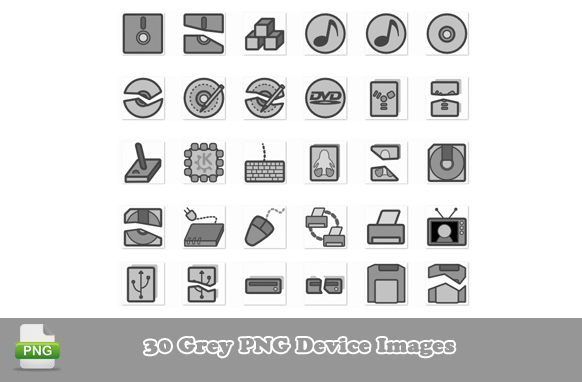 30 Gray PNG Device Images
