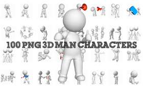 100 PNG 3D Man Characters