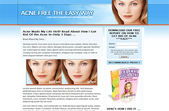 Acne Landing Page HTML Template