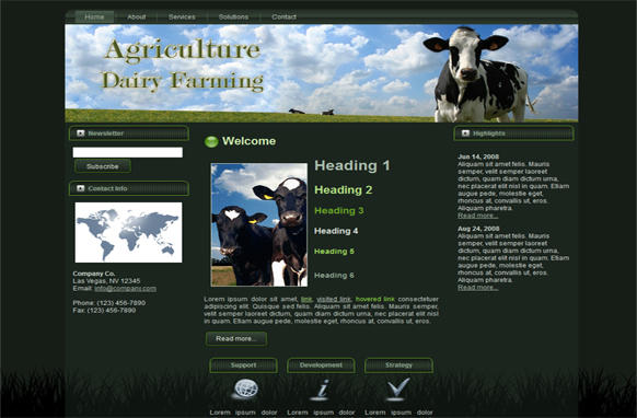 Agriculture Dairy Farming WP Theme HTML Template