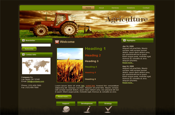 Agriculture Tractor WP Theme HTML Template