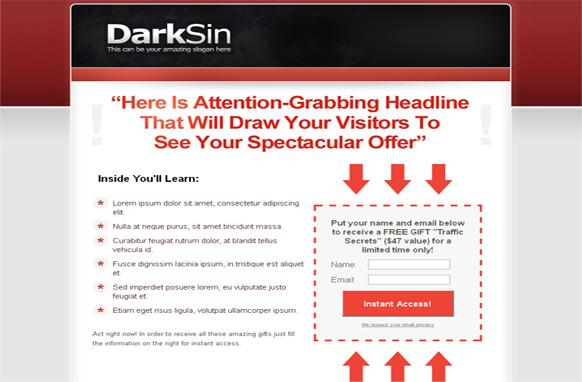 Dark Skin HTML Squeeze Page