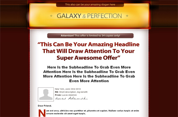 Galaxy Perfection HTML PSD Salespage Template