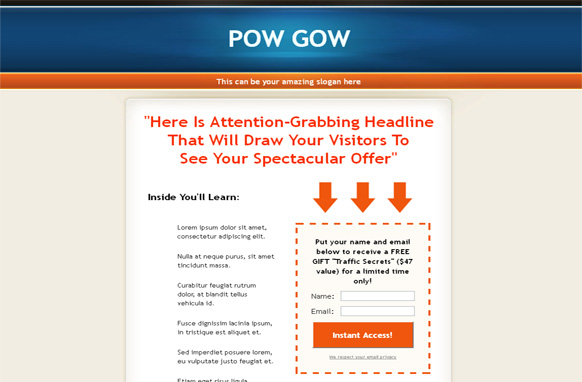 Pow Gow HTML Squeeze Page Template