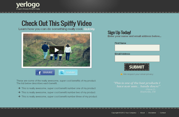Pro Video Squeeze Page Templates Blue Edition