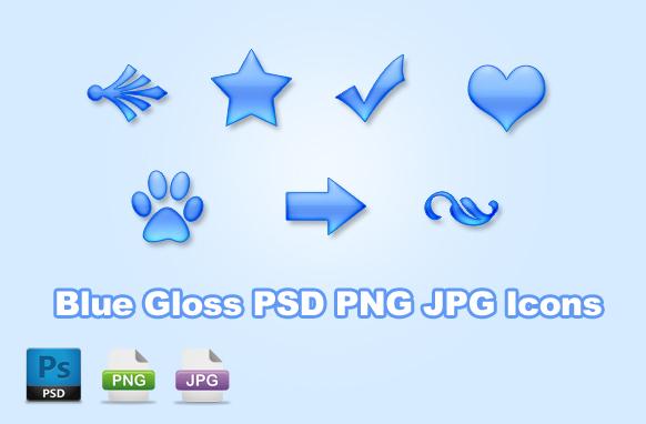Blue Gloss PSD PNG JPG Icons
