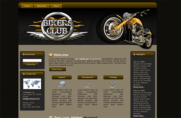 Bikers Club HTML Blogger WP Theme and Template