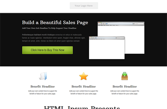 Dark Style HTML PSD Sales Page Template