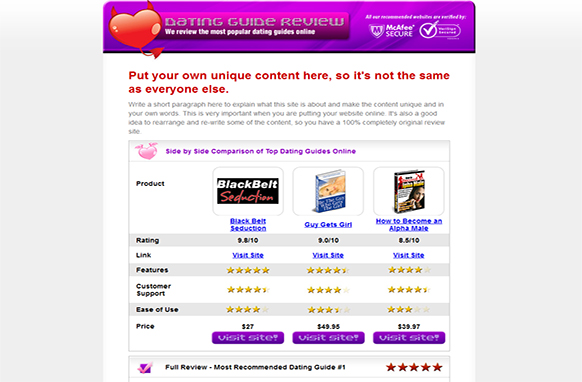 Dating Review Site HTML Template
